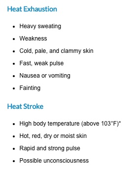 symptoms of heat illnesses charleston sc